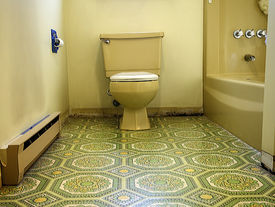 picture of linoleum  - Bathroom designed in hideous green and yellow 70s style in desperate need of a makeover and updates. ** Note: Slight blurriness, best at smaller sizes - JPG