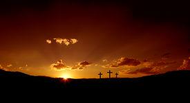 picture of christian cross  - Sun rising on Easter morning - JPG