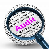 stock photo of financial audit  - Audit Magnifier Definition Meaning Financial Inspection Verification Or Audit - JPG