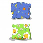 stock photo of moon-flower  - Cartoon colorful pillows with moon and flowers - JPG