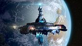 image of spaceships  - Alien mothership near Earth - JPG