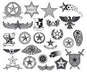 stock photo of texas star  - set of stars vector illustration on white background - JPG