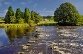 stock photo of stepping stones  - Scenic view of stepping stones across river Wharfe Yorkshire Dales National Park England - JPG