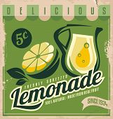 image of promoter  - Vintage poster template for lemonade. Retro banner design with food and drink concept.
