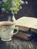 stock photo of vintage antique book  - Cup Of Tea - JPG