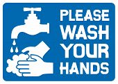 stock photo of epidemic  - please wash your hands sign vector illustration - JPG