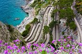 stock photo of twisty  - Capri island famous road Via Krupp on the mountains - JPG
