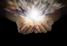 picture of senses  - Woman with outstretched hands and explosive healing magnetism - JPG