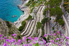 pic of twisty  - Capri island famous road Via Krupp on the mountains - JPG