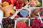 foto of gingerbread man  - homemade gingerbread man with bright christmas decorations - JPG