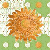 image of idealistic  - Idealistic collage vector picture with the sun grass strawberries fabric patterns - JPG