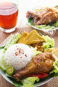 picture of ayam  - Popular Indonesian local food nasi ayam penyet - JPG