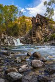 stock photo of water-mill  - Crystal Mill Wooden Powerhouse located on Crystal River Colorado - JPG