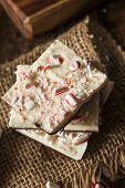 foto of white bark  - Homemade Holiday Peppermint Bark with White and Dark Chocolate - JPG