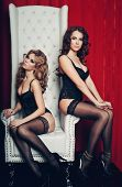 pic of throne  - two sexy women in lingerie on white throne - JPG