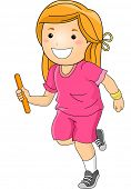 pic of relay  - Illustration Featuring a Girl Participating in a Relay Race - JPG