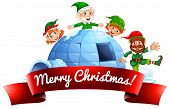 foto of igloo  - Happy elves and igloo for Christmas - JPG