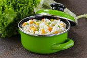 stock photo of green pea  - garnish rice with various vegetables  - JPG