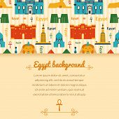picture of ankh  - Landmarks of Egypt vector background in flat style with horizontally space for text - JPG