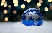 stock photo of hemisphere  - A Christmas ornament depicts the Eastern Hemisphere - JPG