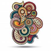 stock photo of mehndi  - Henna Paisley Mehndi Doodles Abstract Floral  Illustration Design Element - JPG