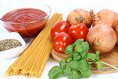 Spaghetti bolognese or napoli ingredient poster