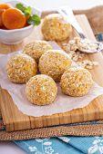 stock photo of oats  - Raw vegan oat apricot banana balls for power breakfast - JPG