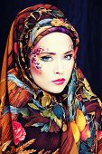 stock photo of fine art portrait  - portrait of contemporary noblewoman with face art creative make - JPG