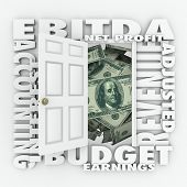 pic of amortization  - EBITDA word acronym on an open door to illustrate budget or accounting practices to report profit - JPG