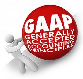 stock photo of accounting  - GAAP acronym or abbreviation on a ball or sphere rolled uphill by an accounting following generally accepted accounting principles - JPG