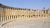 stock photo of cardo  - The Oval forum and Cardo Maximus in ancient Jerash town in Jordan - JPG