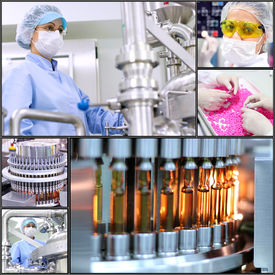 image of pharmaceuticals  - Collage of photographs presenting pharmaceutical concept. Pharmaceutical industry. Medicine manufacturing. - JPG