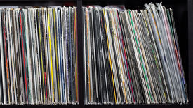 stock photo of lp  - Stack of old vinyl records - JPG