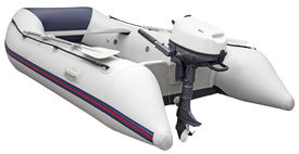 image of outboard  - Inflatable dinghy with Outboard motor isolated on white background with Clipping Path - JPG