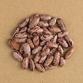 stock photo of pinto  - Top view of circle of pinto beans against beige vinyl background - JPG