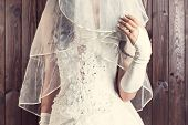 stock photo of bridal veil  - bride holding a veil against wooden background - JPG