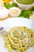 pic of pine nut  - Italian traditional basil pesto pasta ingredients parmesan cheese pine nuts extra virgin olive oil garlic on a rustic table - JPG