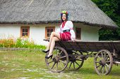 image of wooden horse  - beautiful young woman wearing national ukrainian clothes sitting on old horse drawn wooden cart - JPG