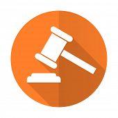 foto of court hammer  - auction orange flat icon court sign verdict symbol - JPG