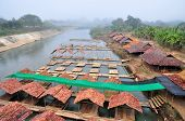foto of raft  - The Restaurant Bamboo Raft on River on Pai River at Maehongson provinceThailand - JPG