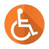 stock photo of wheelchair  - wheelchair orange flat icon   - JPG