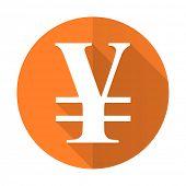 foto of yen  - yen orange flat icon   - JPG