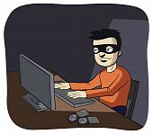 stock photo of computer hacker  - illustration of a hacker using a computer - JPG