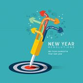 picture of bullseye  - New year resolution concept illustration with dart pinned at center of bullseye target in flat design icons style - JPG