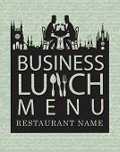 stock photo of diners  - menu for business lunches with old town and gentlemen diners - JPG