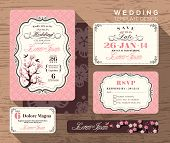 stock photo of greeting card design  - Vintage wedding invitation set design Template Vector place card response card save the date card - JPG