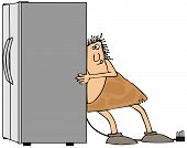 stock photo of caveman  - This illustration depicts a caveman straining to move a large side - JPG