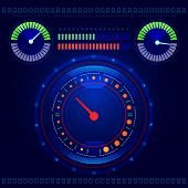 picture of speedometer  - Futuristic abstract car speedometer and tachometer on a blue background vector - JPG