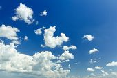 foto of ethereal  - Ultramarine blue joyful heaven background with white ethereal cumulus - JPG