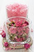 image of sea salt  - SPA treatment set with dried rose and sea salt - JPG